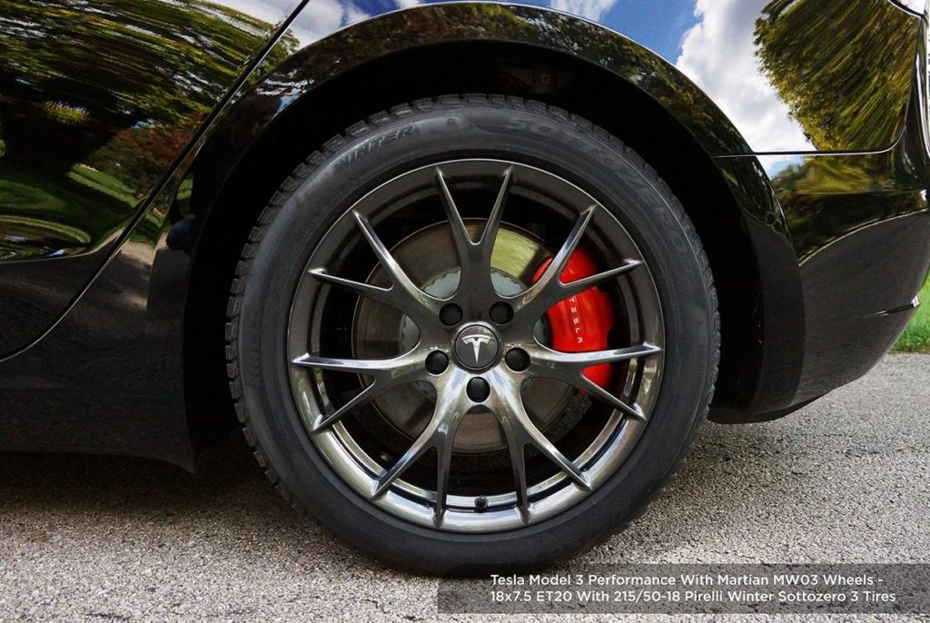 Model 3 Performance with 215/50R18 winter tires and ...