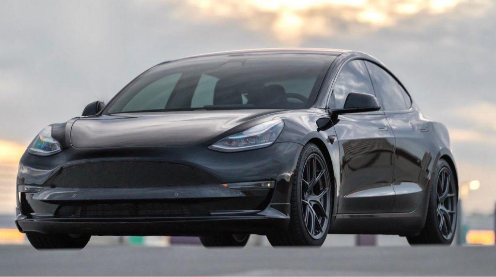 Black Tesla Model 3 lowered - Tesla Model 3 Wiki